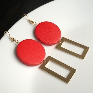 "Jewelry - NEW ""Theory"" Wooden Geometric Earrings (Red)"